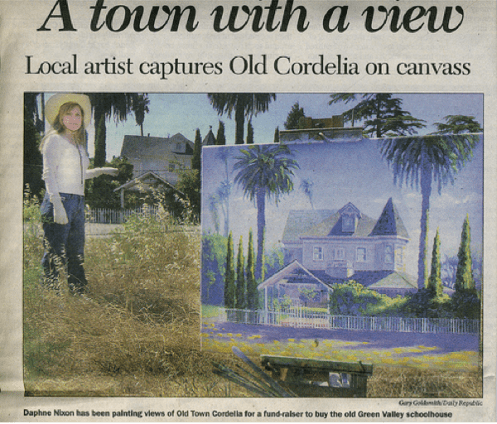 Daphne Wynne Nixon paints plein air in Old Town Cordelia to preserve the buildings so a highway will not be built thru the town. Fairfield Daily Republic Newspaper