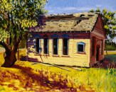 """""""Side View of Green Valley School House in Old Town Cordelia"""" by Daphne Wynne Nixon, 2004"""