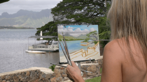 Daphne painting in Oahu, Hawaii.