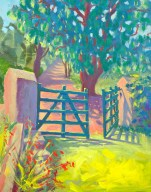 """Green Gate at Bromley"", 9"" x 12"",oil by Daphne Wynne Nixon"