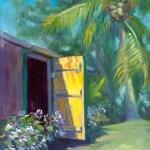 """Behind the Yellow Door"", 9″ x 12″, oil by Daphne Wynne Nixon"