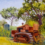 """""""Put Out to Pasture: Cleetrack, 1939"""", oil, by Daphne Wynne Nixon"""