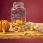 """""""Canning Candy Corn"""", oil, by Daphne Wynne Nixon"""