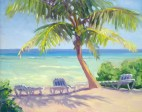 """Blue and White Canvas Beach Chairs"", 11"" x 14"", oil by Daphne Wynne Nixon"