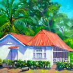 """Patria's Red Roofed Cottage"", by Daphne Wynne Nixon 11″ x 14″, oil"