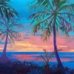 """Sunset Behind Palm Tree Silhouette"", 12″ x 9″, oil, by Daphne Wynne Nixon"