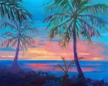 """Sunset Behind Palm Tree Silhouette"", 12"" x 9"", oil, by Daphne Wynne Nixon"