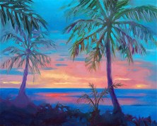 """Sunset Behind Palm Tree Silhouette"", 12"" x 9"", oil, by Daphne Wynne Nixon"