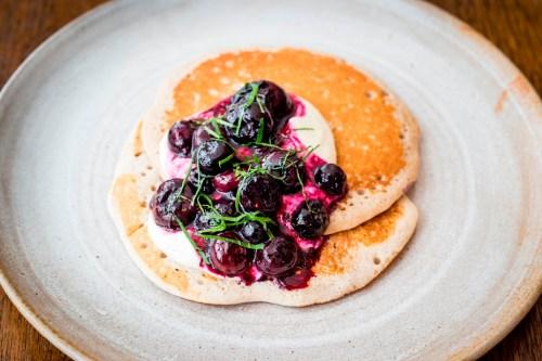 100 Wardour St_Gluten-free pancakes, blueberry compote, pollen