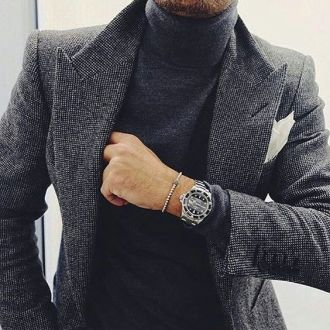 Roll neck smart blazer