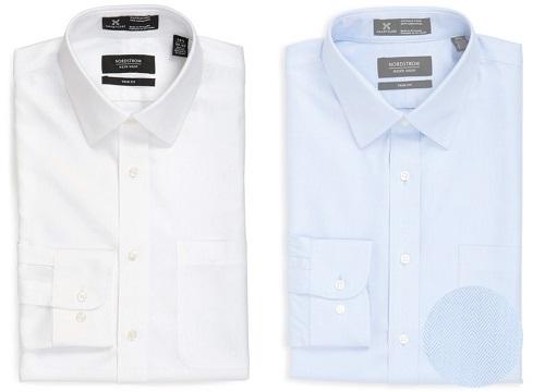 SmartCare Trim Fit White or Blue Herringbone Dress Shirt