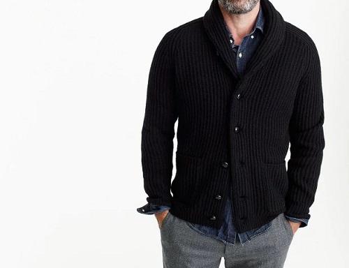 J. Crew Lambswool Ribbed Cardigan Sweater