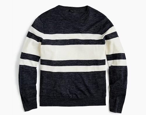 Cotton-Linen Crew Sweater in Heather Multistripe
