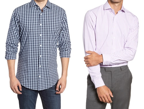 Nordstrom Tech-Smart Trim Fit Stretch Gingham Dress Shirt