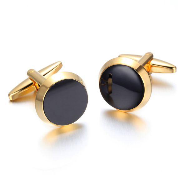 Vintage-Cufflinks-for-Mens-Jewelry-Shirt-Cufflinks-Golden-font-b-Black-b-font-Round-C002