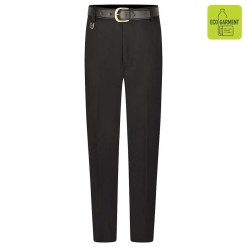 Black tailored fit extra long leg trousers front