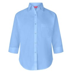 Sky 3/4 Button To Neck Blouse