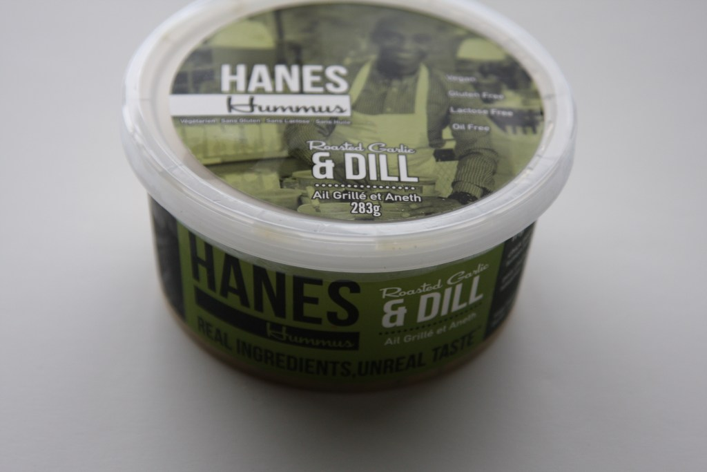 Hanes Hummus roasted garlic & dill container from side