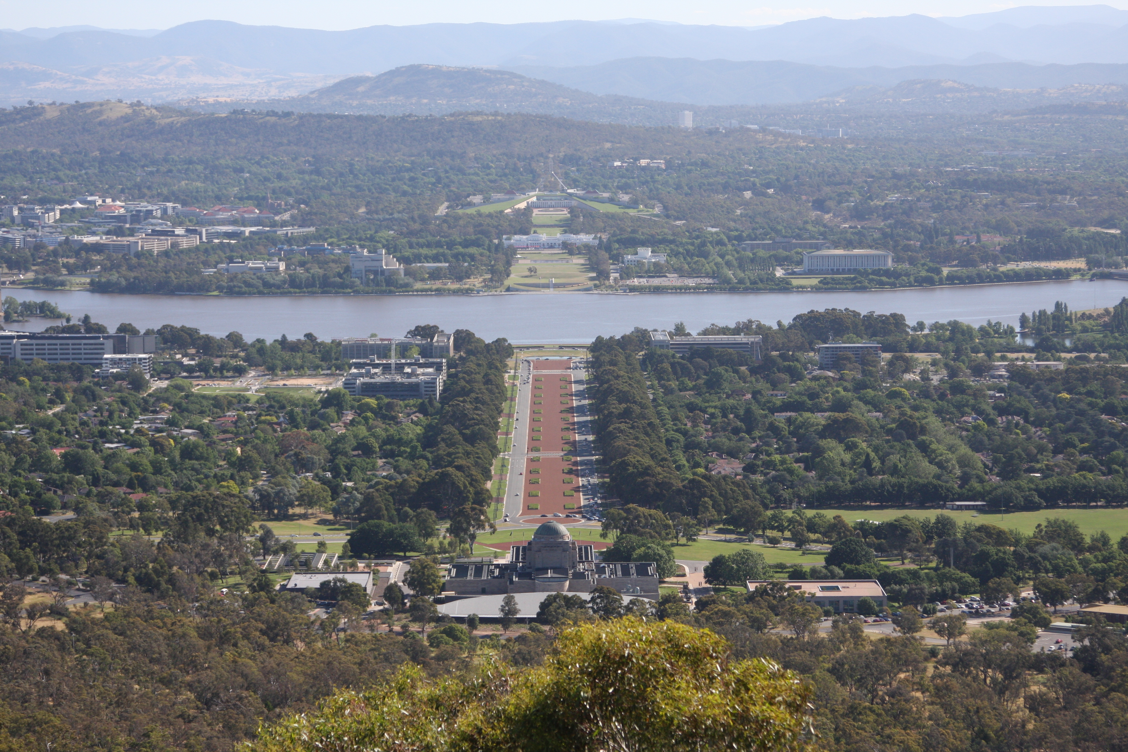 War Memorial and both Parliament Houses in Canberra, Australia
