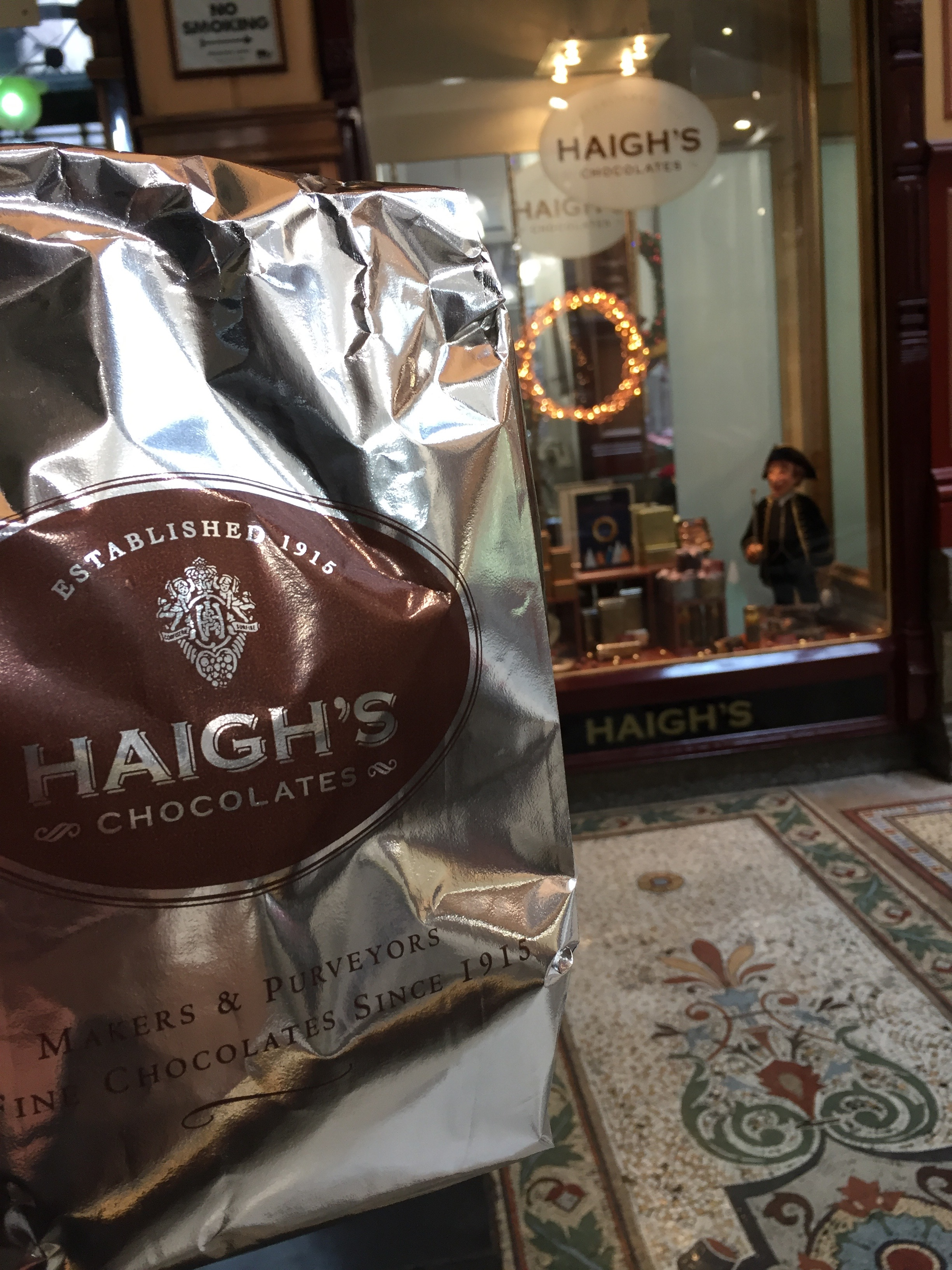 Foil bag for chocolates outside the Haigh's Chocolates store in Melbourne