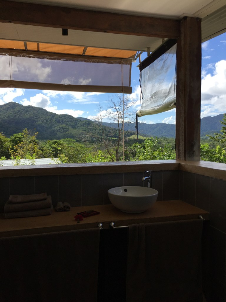 view of the Daintree Rainforest out of the windowless windows in the bathroom of the Wompoo Eco Retreat