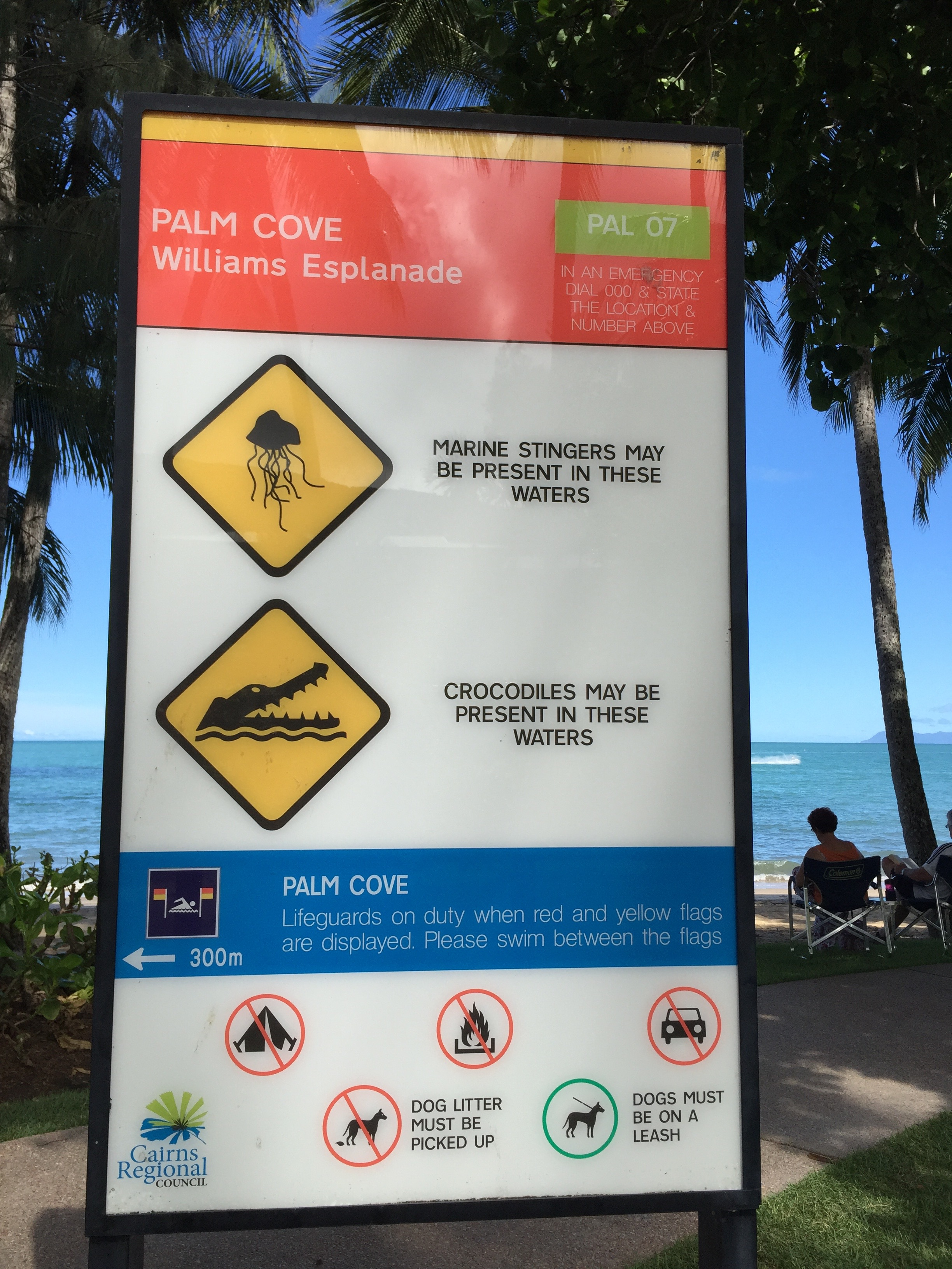 sign on the beach at Palm Cove