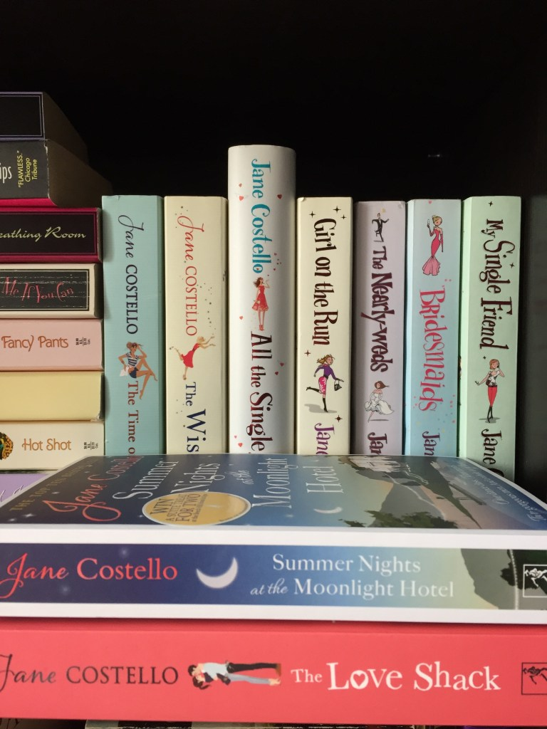 The Jane Costello book collection on the book shelf including last two books in front - favourite authors