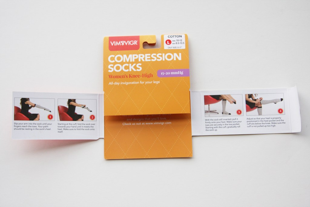 VIM & VIGR Compression Socks instructions in the packaging