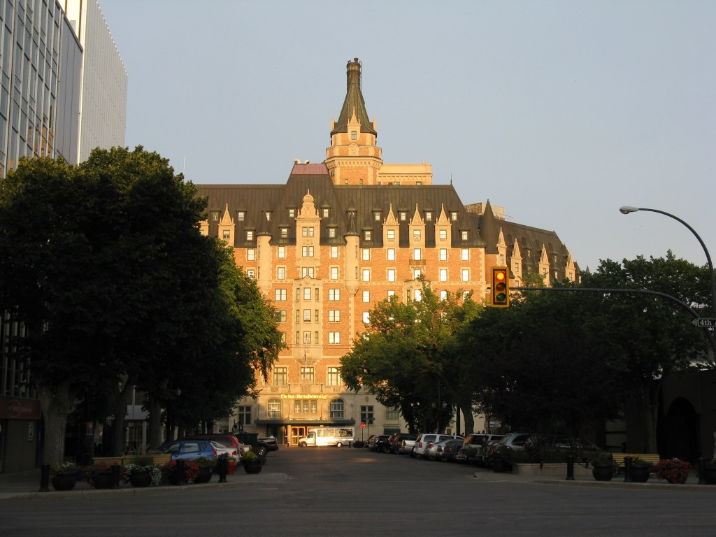 sun shining on the Bessborough hotel in Saskatoon