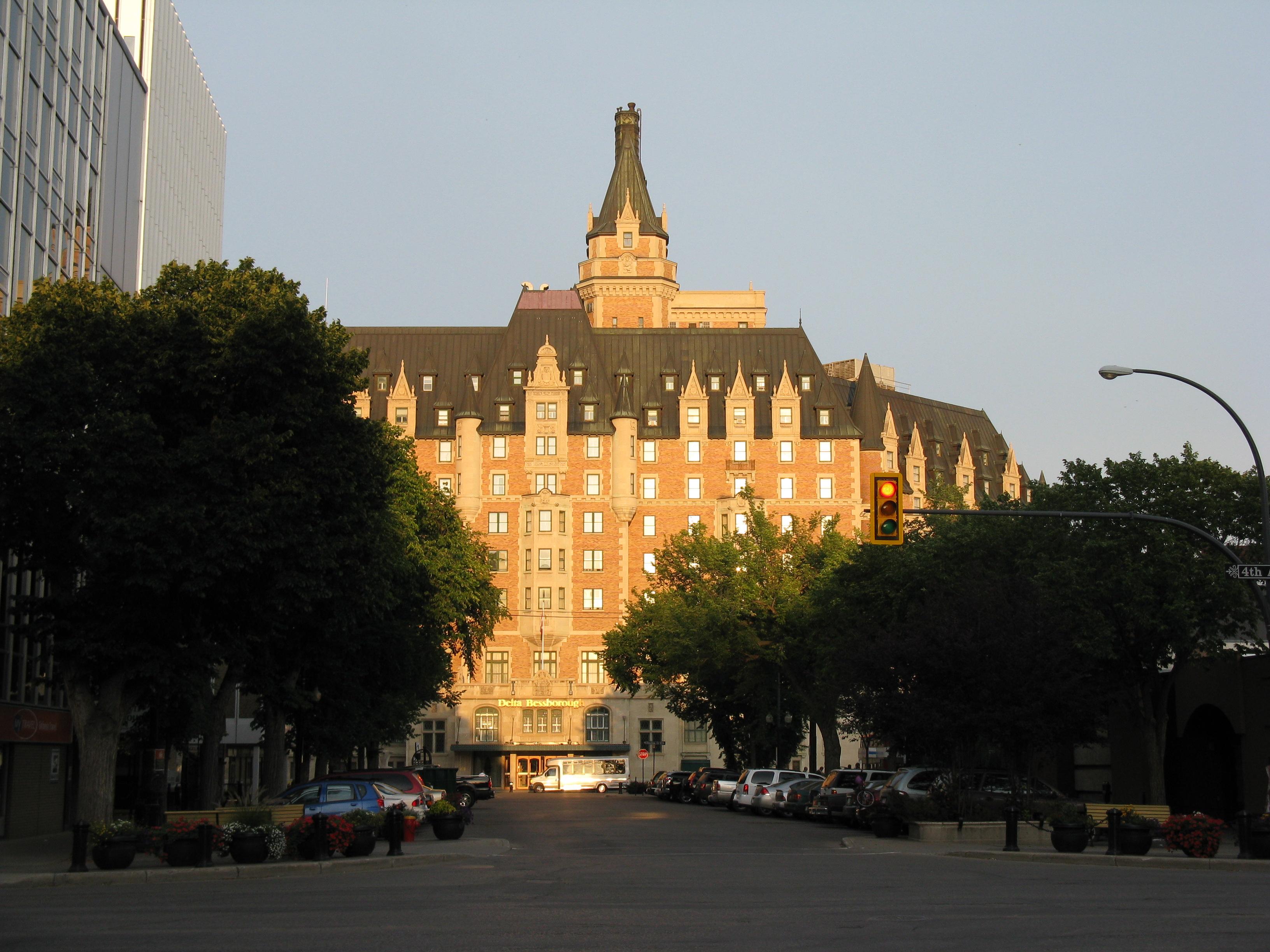 sun shining on the Bessborough hotel in Saskatoon