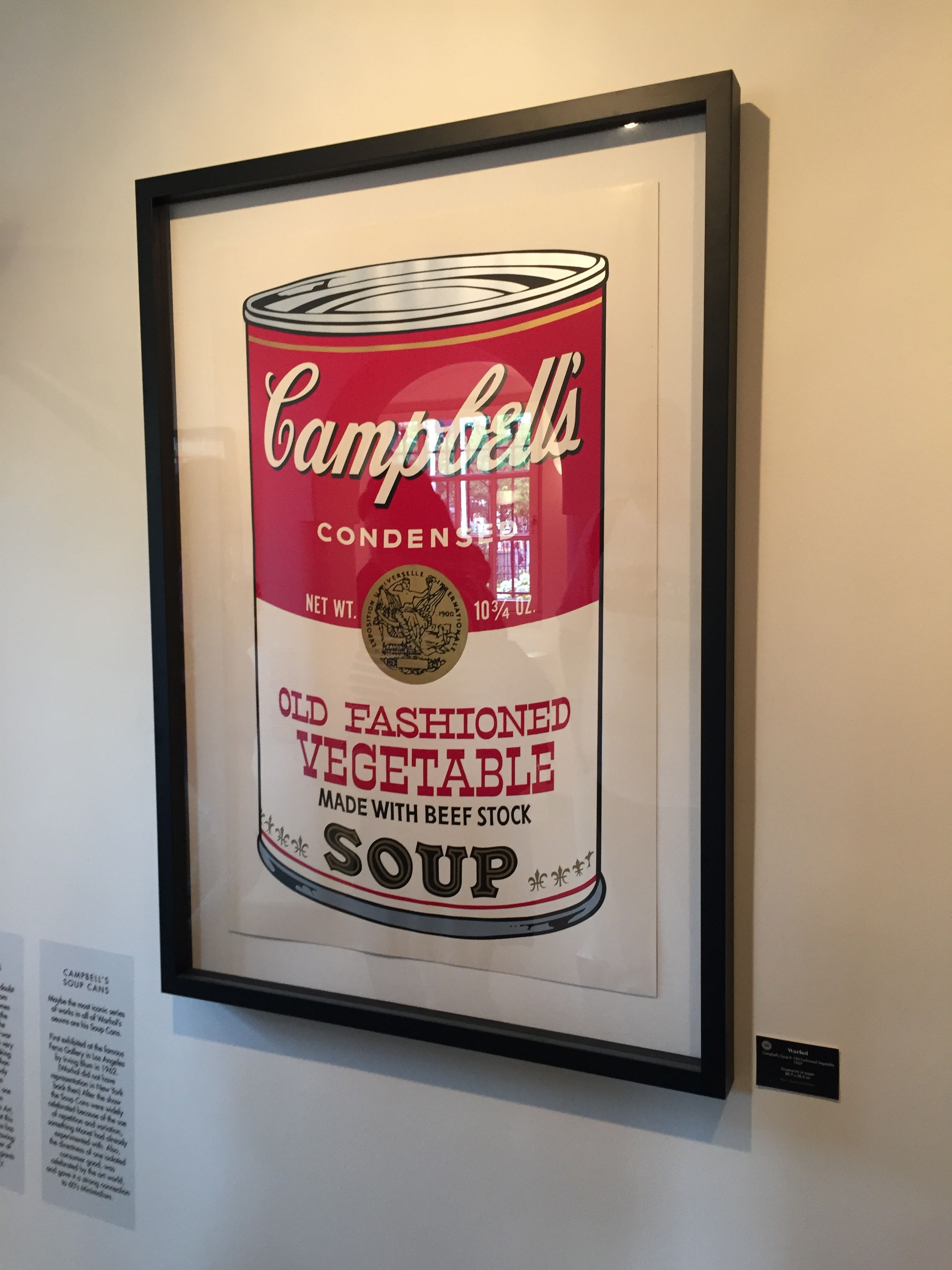 Warhol's Campbell's Soup framed poster inside the Moco Museum in Amsterdam