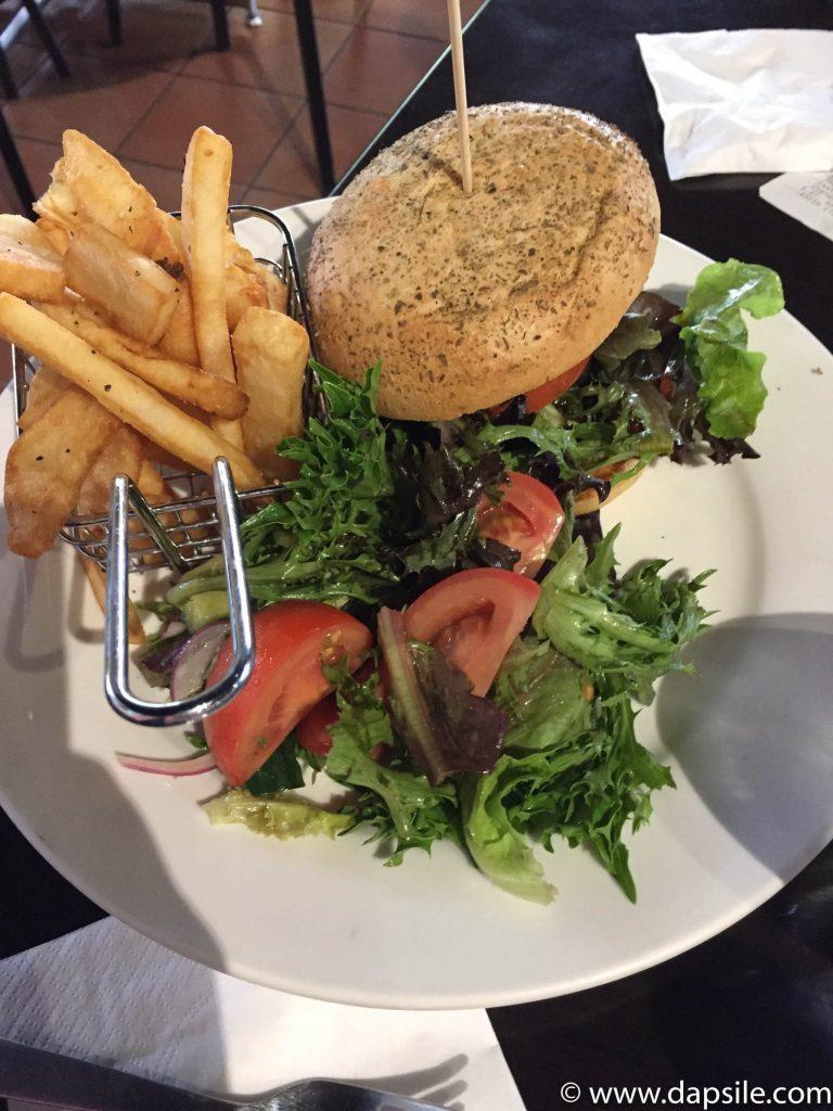 Veggie Burger at Kings Canyon Resort on tour from Alice Springs to Uluru