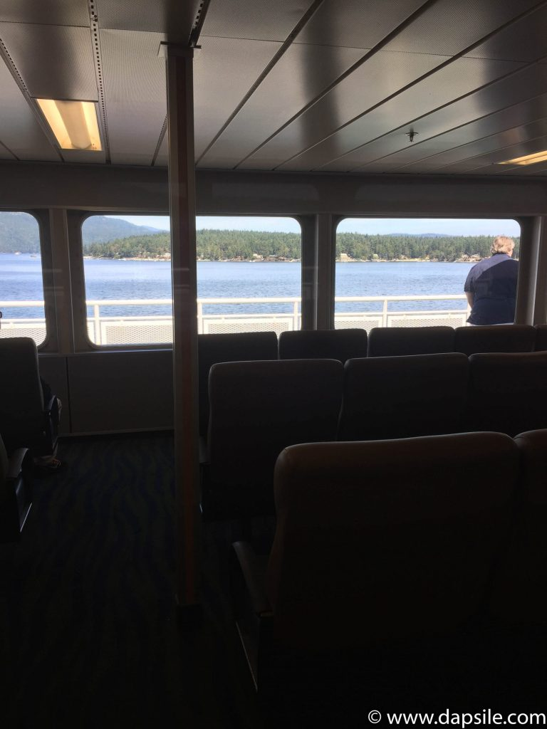 Looking Out the Ferry Windows when travelling from Vancouver to Victoria by Ferry
