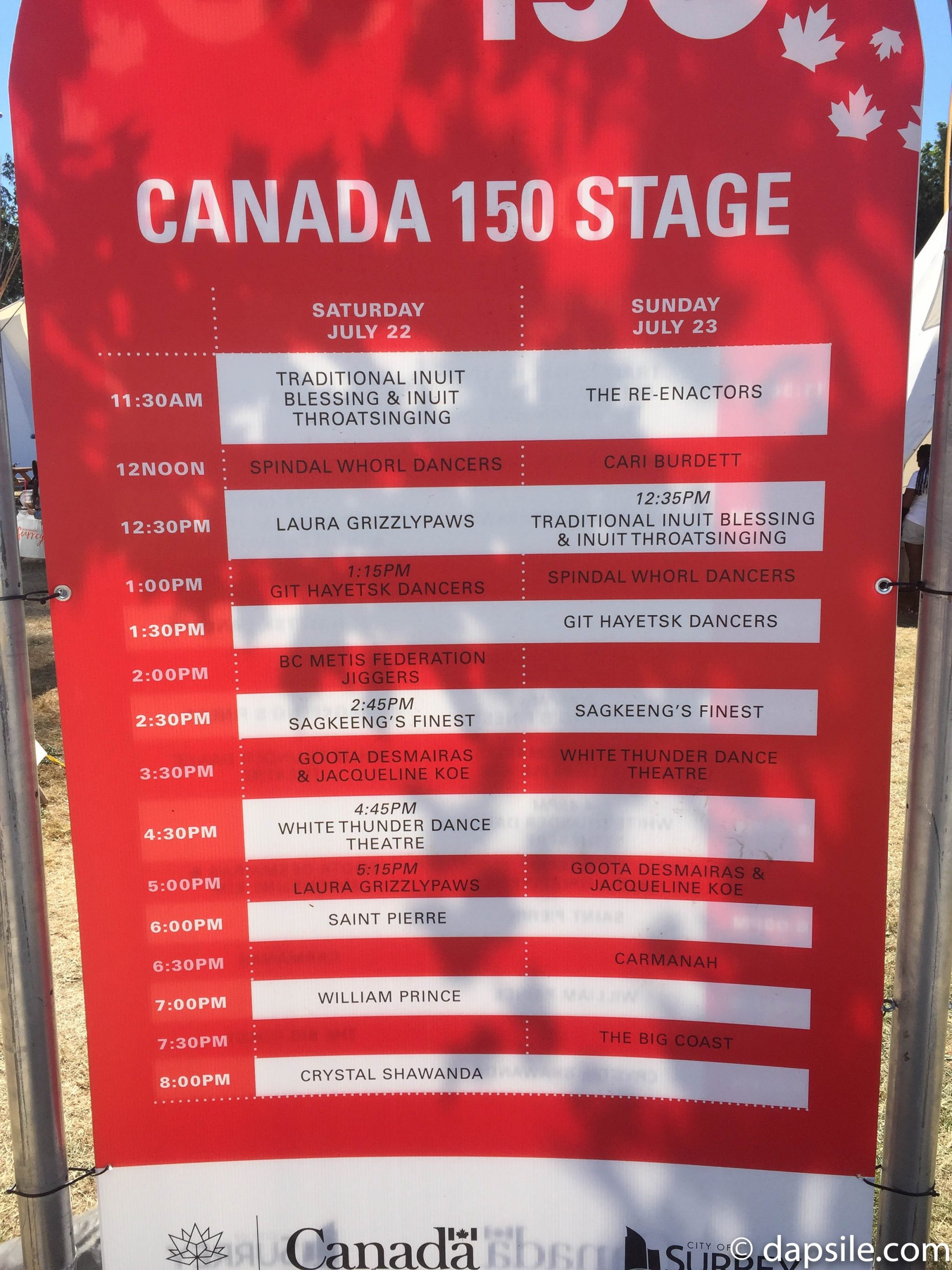 Surrey Fusion Festival 2017 Canada 150 Stage Schedule