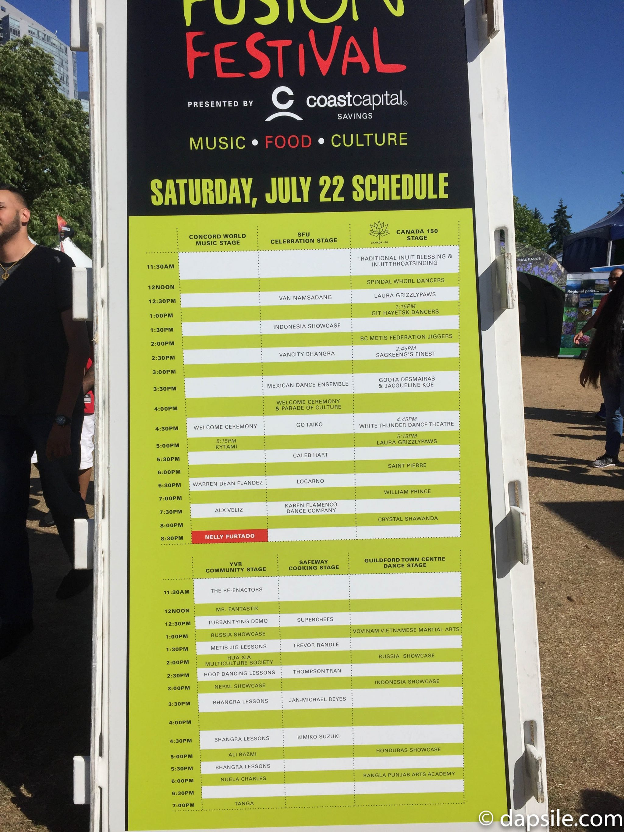 Surrey Fusion Festival 2017 Performers Stage Schedule