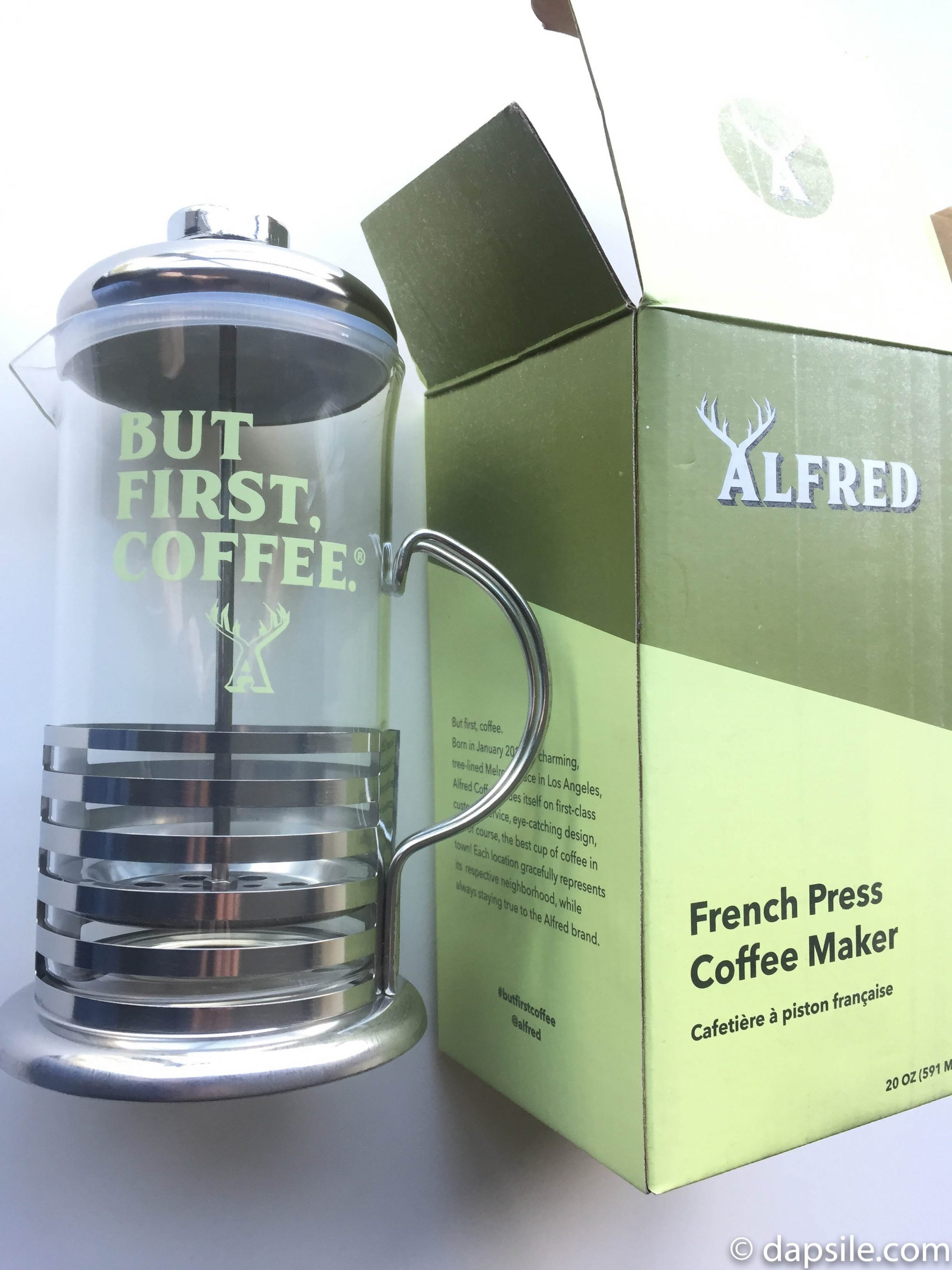 Alfred But First Coffee French Press from the FabFitFun Fall 2018 Subscription Box