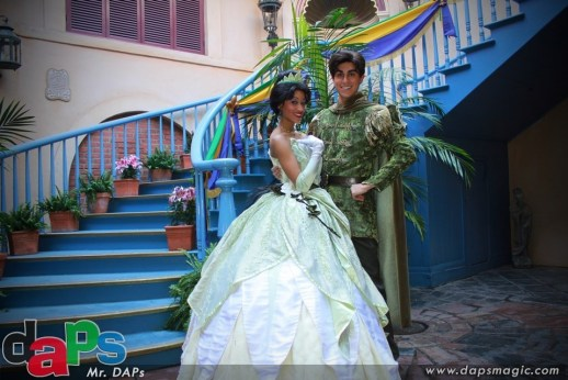 Princess Tiana and Prince Naveen at Disneyland's New Orleans Bayou Bash February 10, 2012
