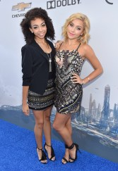 "ANAHEIM, CA - MAY 09: Summer Reign (L) and Millie Thrasher of the musical group Sweet Suspense attend the world premiere of Disney's ""Tomorrowland"" at Disneyland, Anaheim on May 9, 2015 in Anaheim, California. (Photo by Alberto E. Rodriguez/Getty Images for Disney) *** Local Caption *** Summer Reign;Millie Thrasher"