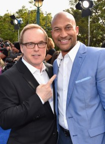 """ANAHEIM, CA - MAY 09: Director/producer/writer Brad Bird (L) and actor Keegan-Michael Key attend the world premiere of Disney's """"Tomorrowland"""" at Disneyland, Anaheim on May 9, 2015 in Anaheim, California. (Photo by Alberto E. Rodriguez/Getty Images for Disney) *** Local Caption *** Keegan-Michael Key;Brad Bird"""