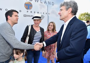"""ANAHEIM, CA - MAY 09: (L-R) Writer Panio Gianopoulos, actress Molly Ringwald and Chairman of the Walt Disney Studios Alan Horn attend the world premiere of Disney's """"Tomorrowland"""" at Disneyland, Anaheim on May 9, 2015 in Anaheim, California. (Photo by Alberto E. Rodriguez/Getty Images for Disney) *** Local Caption *** Panio Gianopoulos;Molly Ringwald;Alan Horn"""
