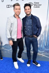 "ANAHEIM, CA - MAY 09: Singer Lance Bass (L) and artist Michael Turchin attend the world premiere of Disney's ""Tomorrowland"" at Disneyland, Anaheim on May 9, 2015 in Anaheim, California. (Photo by Alberto E. Rodriguez/Getty Images for Disney) *** Local Caption *** Lance Bass;Michael Turchin"