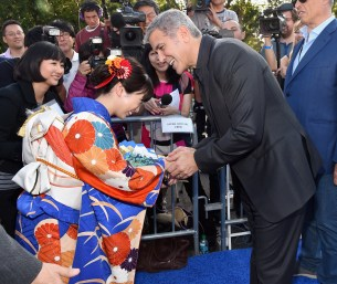 "ANAHEIM, CA - MAY 09: Actors Mirai Shida (L) and George Clooney attend the world premiere of Disney's ""Tomorrowland"" at Disneyland, Anaheim on May 9, 2015 in Anaheim, California. (Photo by Alberto E. Rodriguez/Getty Images for Disney) *** Local Caption *** Mirai Shida;George Clooney"
