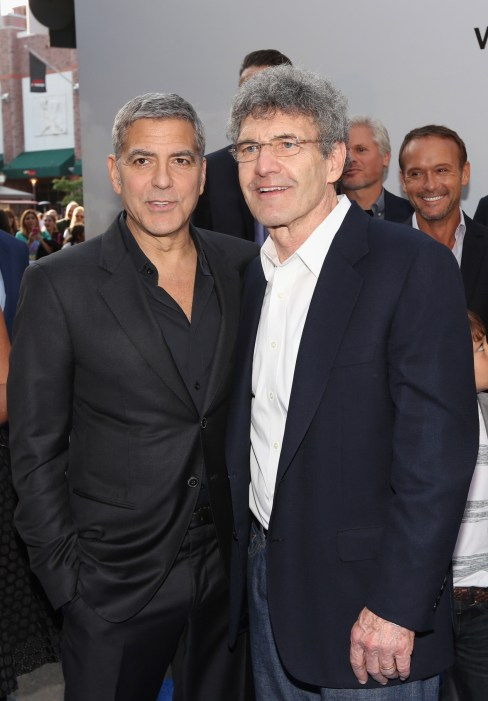 """ANAHEIM, CA - MAY 09: Actor George Clooney (L) and Chairman of the Walt Disney Studios Alan Horn attend the world premiere of Disney's """"Tomorrowland"""" at Disneyland, Anaheim on May 9, 2015 in Anaheim, California. (Photo by Jesse Grant/Getty Images for Disney) *** Local Caption *** George Clooney;Alan Horn"""