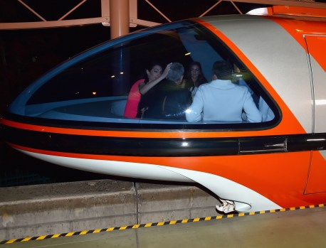 "ANAHEIM, CA - MAY 09: (L-R) Mia Alamuddin, lawyer Amal Clooney, actor George Clooney and The Walt Disney Company Chairman and CEO Bob Iger ride the monorail to the after party for the world premiere of Disney's ""Tomorrowland"" at Disneyland, Anaheim on May 9, 2015 in Anaheim, California. (Photo by Alberto E. Rodriguez/Getty Images for Disney) *** Local Caption *** Mia Alamuddin;George Clooney;Amal Clooney;Bob Iger"