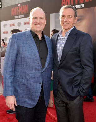 """LOS ANGELES, CA - JUNE 29: Producer Kevin Feige (L) and The Walt Disney Company Chairman and CEO, Bob Iger attend the world premiere of Marvel's """"Ant-Man"""" at The Dolby Theatre on June 29, 2015 in Los Angeles, California. (Photo by Charley Gallay/Getty Images) *** Local Caption *** Kevin Feige;Bob Iger"""