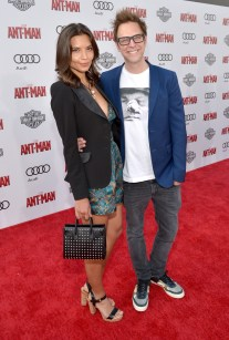 """LOS ANGELES, CA - JUNE 29: Writer/director James Gunn (R) and guest attend the world premiere of Marvel's """"Ant-Man"""" at The Dolby Theatre on June 29, 2015 in Los Angeles, California. (Photo by Charley Gallay/Getty Images) *** Local Caption *** James Gunn"""