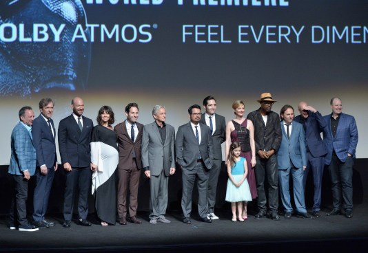 """LOS ANGELES, CA - JUNE 29: (L-R) Executive producer Louis D'Esposito, actors Martin Donovan, Corey Stoll, Evangeline Lilly, Paul Rudd, Michael Douglas, Michael Pena, David Dastmalchian, Abby Ryder Fortson, Judy Greer, Wood Harris and Gregg Turkington, director Director Peyton Reed and producer Kevin Feige onstage during the world premiere of Marvel's """"Ant-Man"""" at The Dolby Theatre on June 29, 2015 in Los Angeles, California. (Photo by Charley Gallay/Getty Images) *** Local Caption *** Louis D'Esposito;Martin Donovan;Corey Stoll;Evangeline Lilly;Paul Rudd;Michael Douglas;Michael Pena;David Dastmalchian;Abby Ryder Fortson;Judy Greer;Wood Harris;Gregg Turkington;Peyton Reed;Kevin Feige"""