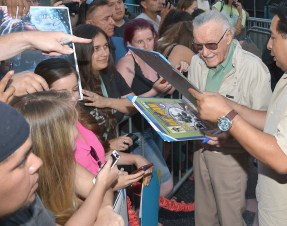 "LOS ANGELES, CA - JUNE 29: Comic book icon Stan Lee signs autographs with fans at the world premiere of Marvel's ""Ant-Man"" at The Dolby Theatre on June 29, 2015 in Los Angeles, California. (Photo by Charley Gallay/Getty Images) *** Local Caption *** Stan Lee"