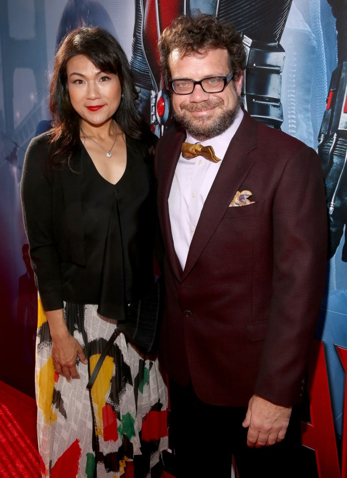 """LOS ANGELES, CA - JUNE 29: Composer Christophe Beck (R) and guest attend the world premiere of Marvel's """"Ant-Man"""" at The Dolby Theatre on June 29, 2015 in Los Angeles, California. (Photo by Jesse Grant/Getty Images for Disney) *** Local Caption *** Christophe Beck"""