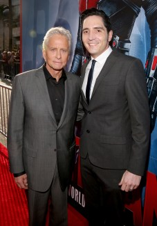 """LOS ANGELES, CA - JUNE 29: Actors Michael Douglas (L) and David Dastmalchian attend the world premiere of Marvel's """"Ant-Man"""" at The Dolby Theatre on June 29, 2015 in Los Angeles, California. (Photo by Jesse Grant/Getty Images for Disney) *** Local Caption *** Michael Douglas;David Dastmalchian"""